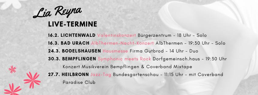Lia Reyna Konzerte im Februar und März