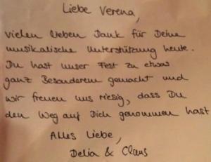 Dankeskarte an Sängerin Lia Reyna - Trauung Delia & Claus