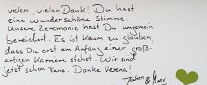 Dankeskarte an Sängerin Lia Reyna - Trauung Jochen & Manu