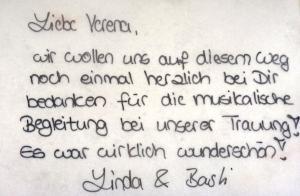 Dankeskarte an Sängerin Lia Reyna - Trauung Linda & Basti