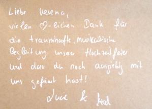 Dankeskarte an Sängerin Lia Reyna - Trauung Lucie & Axel